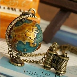 Vintage Look Traveler's Globe Necklace
